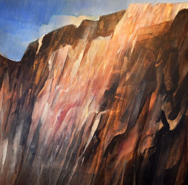 Mountain in Morning Light - contemporary acrylic on canvas painting