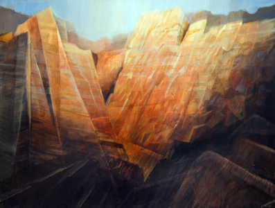 SOLD - Desert Canyon Painting, 36 x 48, Acrylic on Canvas