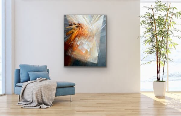 Banding together - abstract contemporary painting on white wall