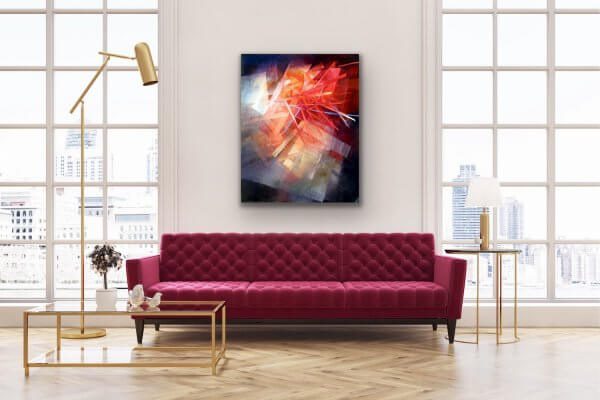 Breaking through - painting over red sofa