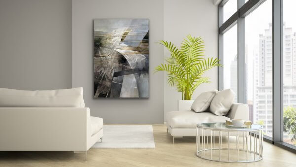 Bridges - abstract black and white large painting