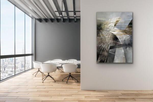 Bridges - contemporary black and white paintng