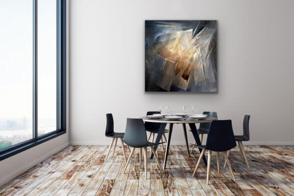 Catching the light - abstract painting in the contemporary dining room