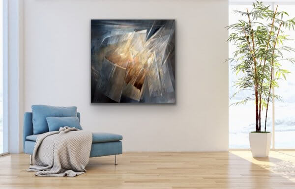 Catching the light - abstract painting in the contemporary living room