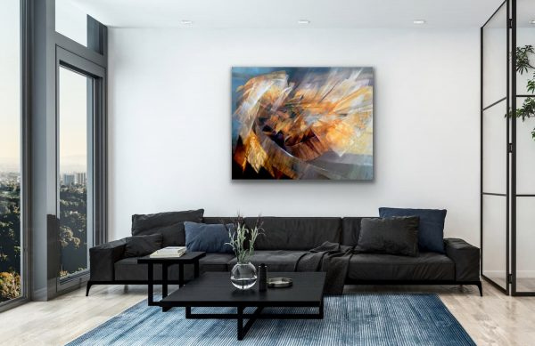 Cycle - abstract geometric painting on top of black sofa