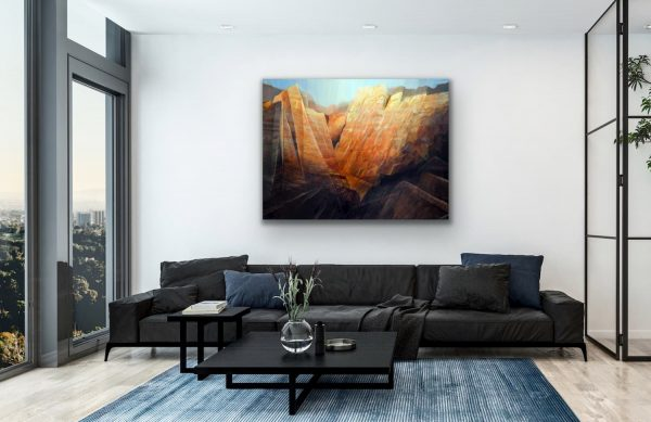 Desert canyon - abstract contemporary large painting of mountains