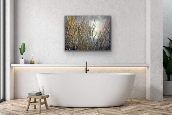 Early spring - abstract organic painting over the modern bathtub