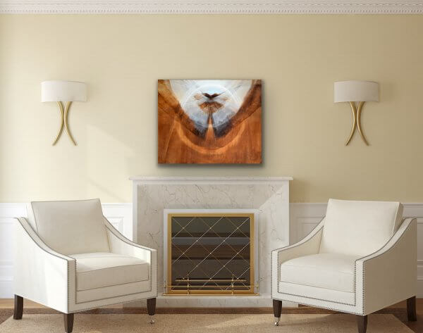 Encircled flight - Abstract brown and white painting
