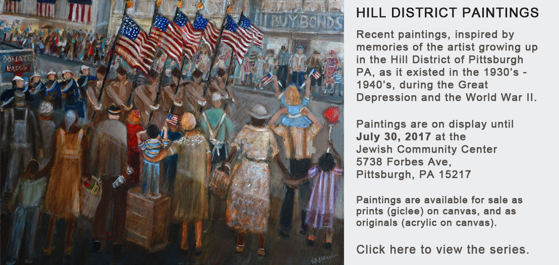 Hill District Paintings, inspired by memories of growing up in the Hill District in Pittsburgh in 1930's-1940's