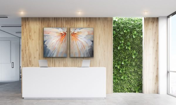 Flower - 2 piece abstract contemporary painting behind the reception desk