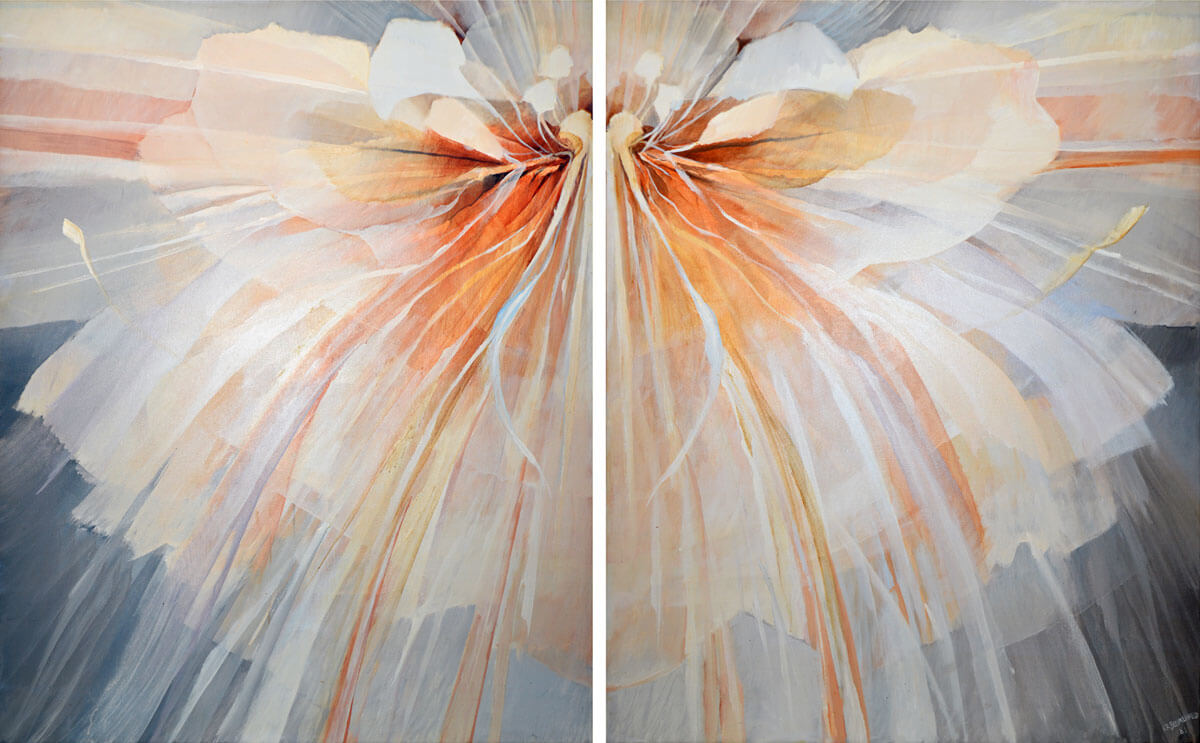 Flower - Diptych Painting. 2 panels - 54 1/2 x 43 1/2 each