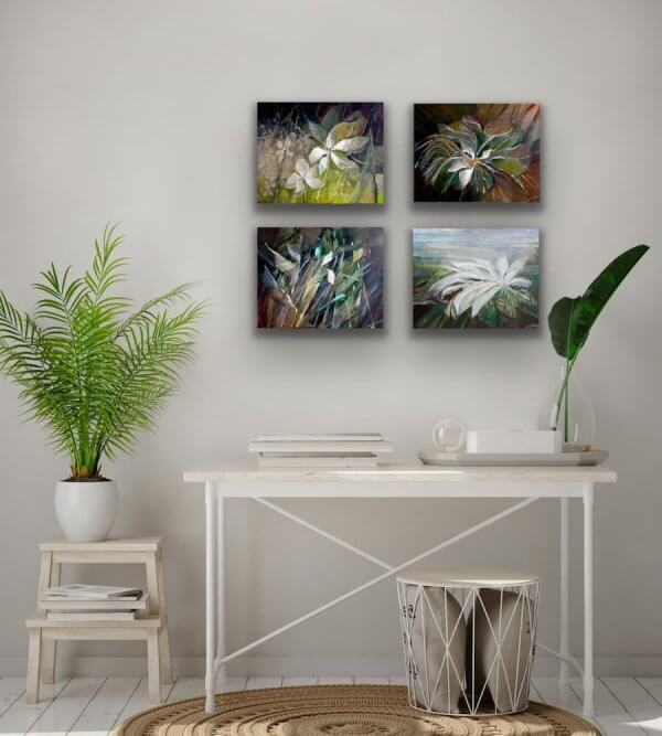 Flowers horizontal paintings over table