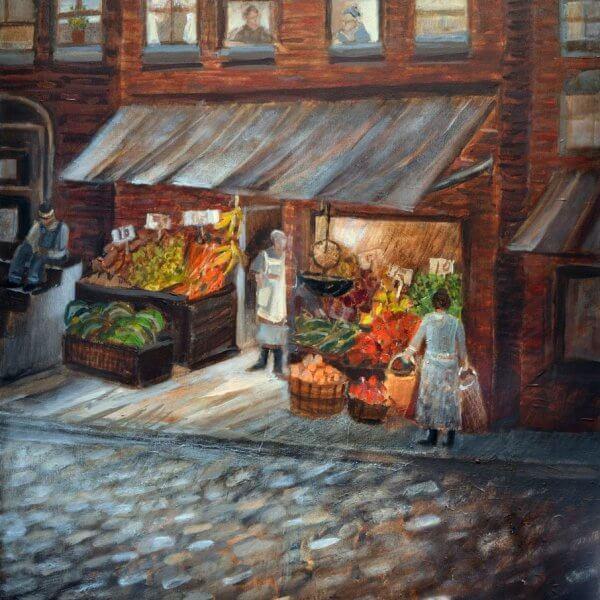 Fruit Market on Logan Street - Hill District Paintings