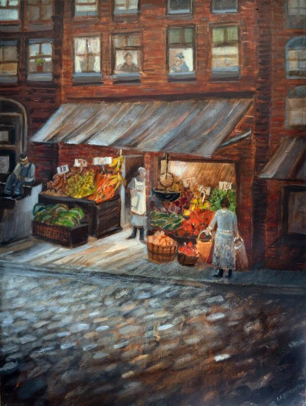 Fruit Market on Logan Street - Hill District Paintings