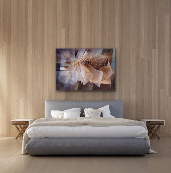 Gathering - Large Abstract painting over the bed