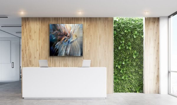 Holding it together - painting behind the reception desk