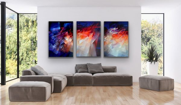 Journey - 3 piece large wall painting in an abstract contemporary style