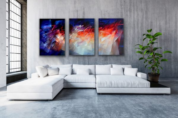 """Journey"" - large wall 3 piece colorful abstract contemporary painting"