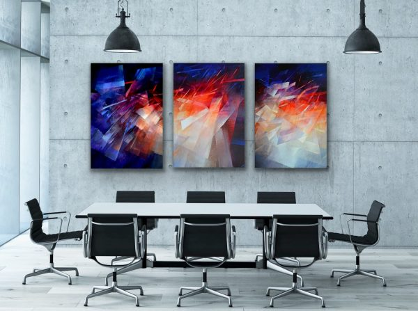 """Journey"" - 3 piece large vibrant contemporary art in the conference room"