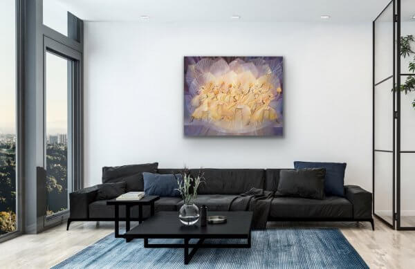 Jubilation - purple and yellow painting over the black sofa