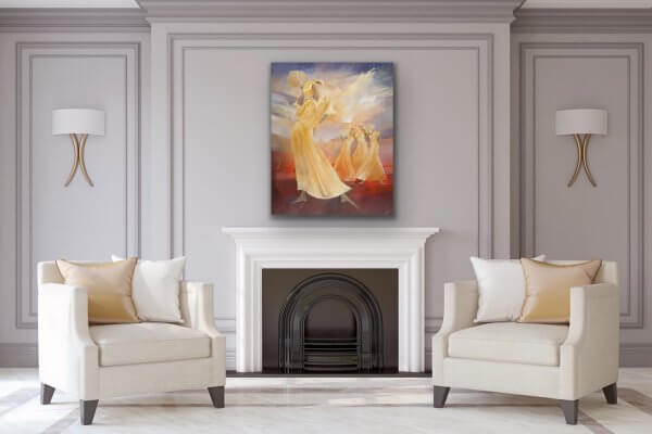 Ladies with attitude - Ballet painting over fireplace