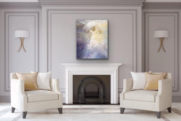 Lady with Umbrella painting over fireplace