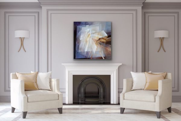 Looking inward - square abstract contemporary art above fireplace