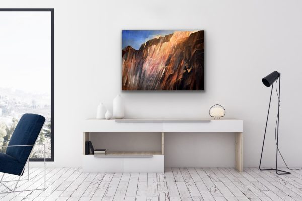 Mountain light - abstract contemporary painting of mountains landscape
