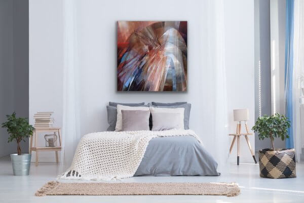 Passage - abstract painting over bed