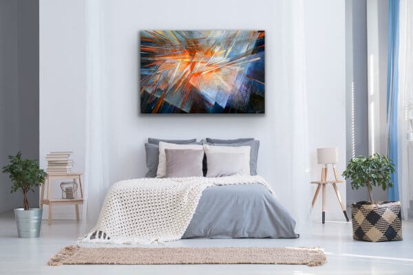 Play of light - Abstract contemporary painting in the bedroom