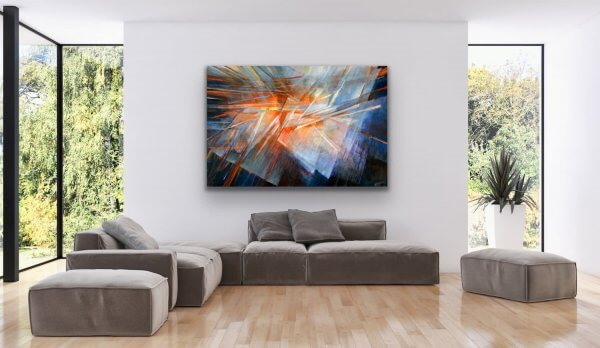 Play of light - large abstract wall painting