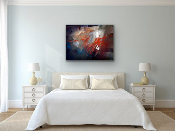 """Promise"" - Vibrant abstract contemporary painting in the bedroom"
