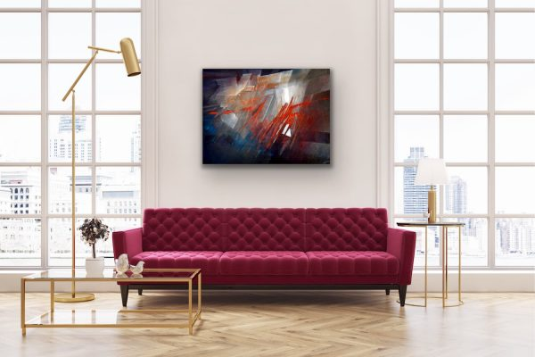 """Promise"" - Abstract contemporary painting on top of burgundy sofa"