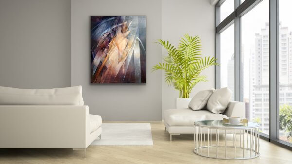 Sentry Abstract painting in contemporary living room