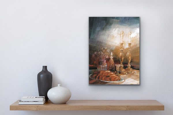 Shabbat painting over table