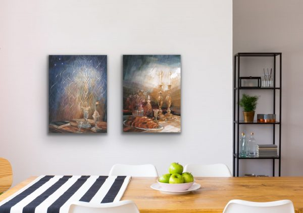 Shabbat and Havdalah paintings in the kitchen
