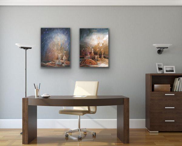 Shabbat and Havdalah paintings in the office