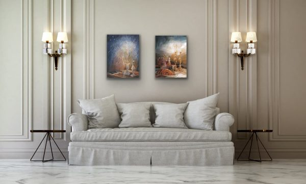 Shabbat and Havdalah paintings over sofa