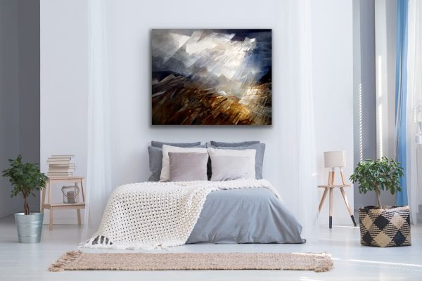 Skylights - large abstract contemporary painting in the bedroom