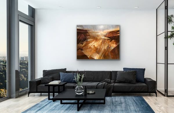 Stone memory - abstract painting on top of black sofa