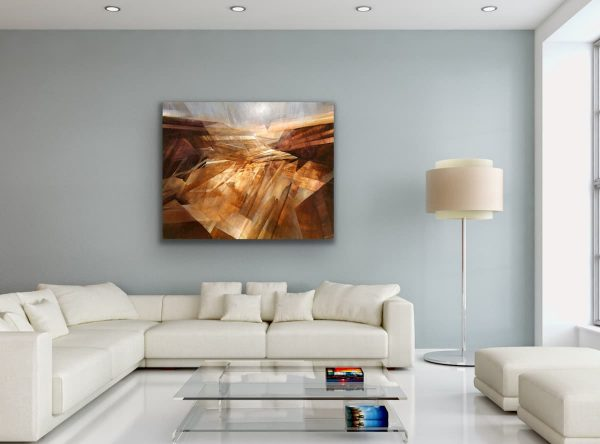 Stone memory - brown contemporary painting above white sofa