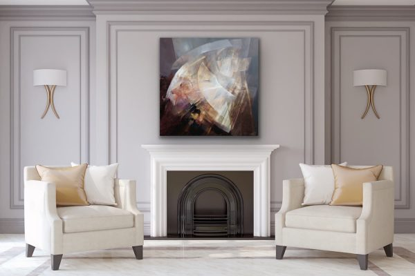 Time to turn - abstract contemporary painting over the fireplace