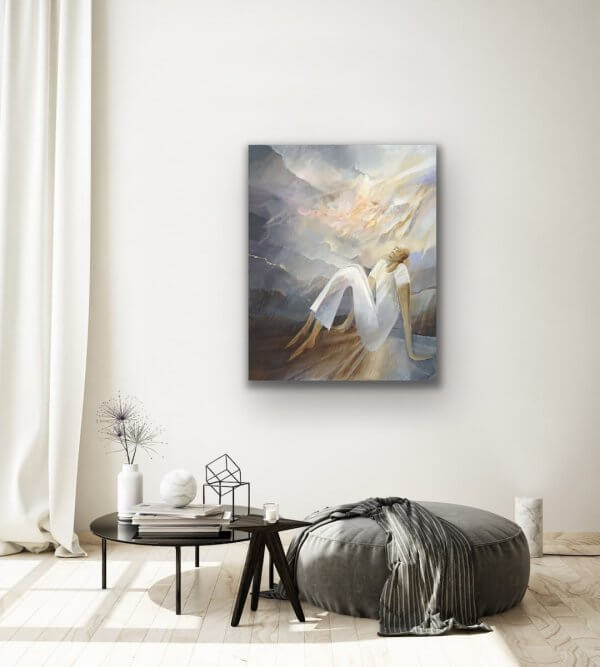 Waiting - abstract ballet painting in white room