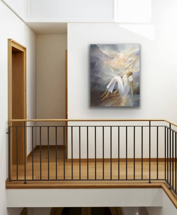 Waiting - contemporary painting over the stairs