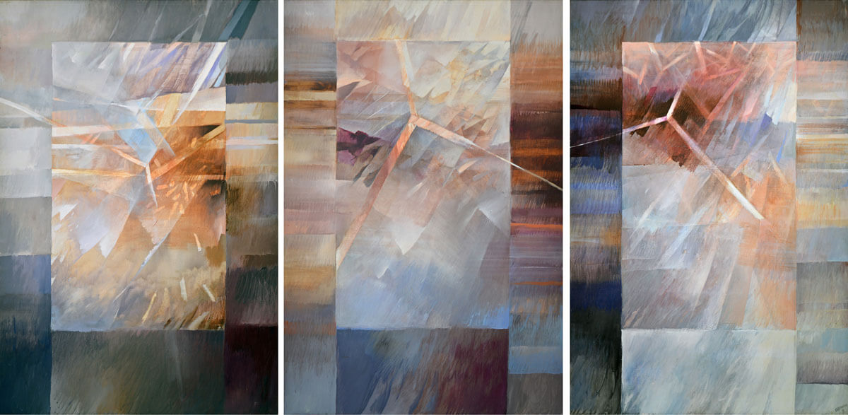 Why, Why, Why painting - Triptych by Rochelle Blumenfeld. Each panel measures 68 x 45