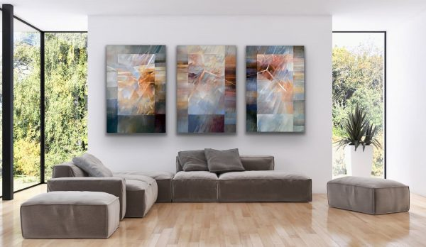 """""""Why why why"""" - abstract contemporary 3 piece large painting"""