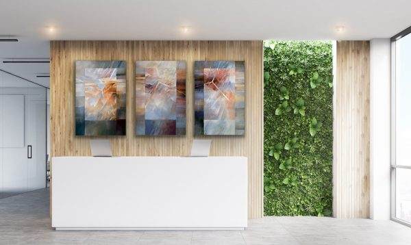 """""""Why Why Why"""" - 3 piece large contemporary abstract painting behind the reception desk"""