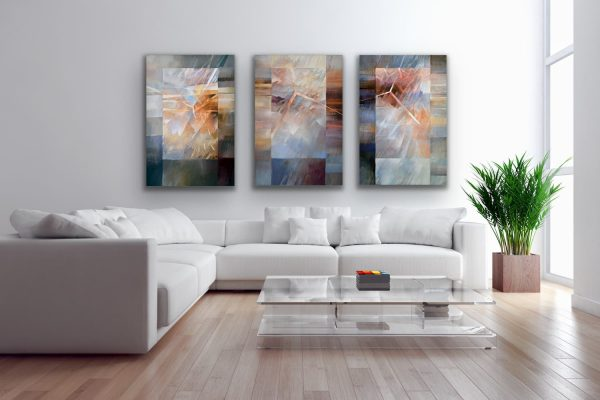 """""""Why Why Why"""" - large wall 3 part abstract contemporary art"""