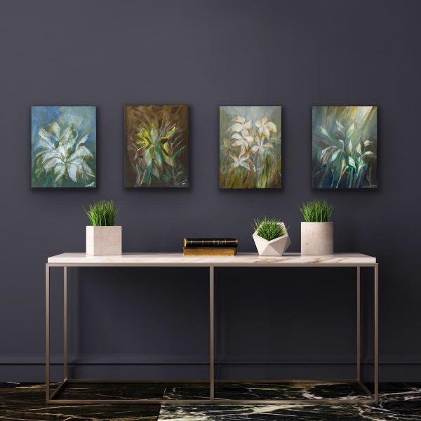 Flower paintings on dark wall